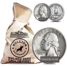 $50 Face Value Bag - 200 Coins - 90% Silver Washington Quarters 25c (Circulated) (scheduled via http://www.tailwindapp.com?utm_source=pinterest&utm_medium=twpin&utm_content=post120976255&utm_campaign=scheduler_attribution)
