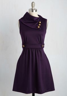 Coach Tour Dress in Violet - Purple, Solid, Buttons, A-line, Sleeveless, Casual…