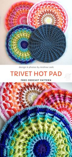 Trivet Hot Pad Free Crochet Pattern Stunning Crochet Mandalas and Potholders. Potholder doesn't have to be boring! This project is the best example of vibrant, fun potholders. They will last you for ages, are easy to make and look just stunning! Crochet Kitchen, Crochet Home, Knit Crochet, Crochet Stitch, Modern Crochet, Motif Mandala Crochet, Crochet Circles, Knitting Projects, Knitting Patterns