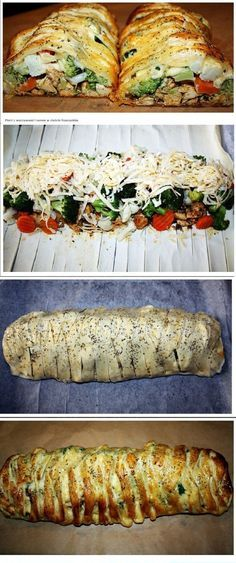 Breast with vegetables and cheese in puff pastry Breast . Kids Meals, Easy Meals, Good Food, Yummy Food, Food Tags, Tapas, Cooking Recipes, Healthy Recipes, Diy Food