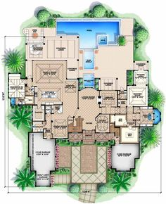Florida Style House Plans - 8899 Square Foot Home, 2 Story, 5 Bedroom and 5 3 Bath, 4 Garage Stalls by Monster House Plans - Plan 55-239