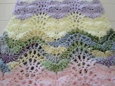 Crocheted baby blanket lacey ripple white by AuntieJenniesAttic