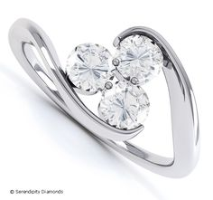Trilogy diamond engagement ring with three equally sized diamonds in a twist design.