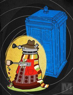 Meghan Murphy's series of daleks dressed like all eleven Doctors: Four