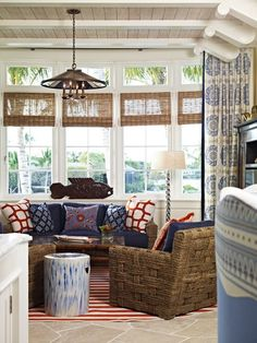"Creating Coastal Style::  ""natural textures in the furniture are typical of nautical home decor. Once again, you have stripes residing in the room, and a fun fish at the window. You can also display seashells and starfish that you've collected on a favorite vacation.""- http://town-n-country-living.com/"