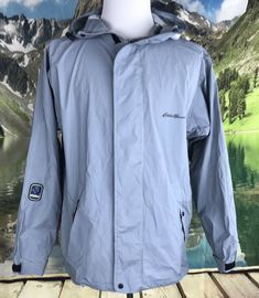 e9063eb90284 Eddie Bauer Mens Waterproof PVC  Polyester Waterproof Rain Jacket Gray  Medium