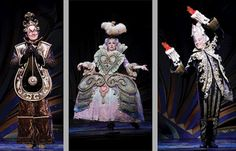 Cogsworth as a clock, Madame de la grande bouche as a set of drawers and Lumiere as a candlestick in Disney's stage production of Beauty and the Beast