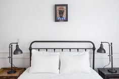 The one piece of artwork on the wall in the master bedroom is by textile artist Chris Roberts-Antieau.