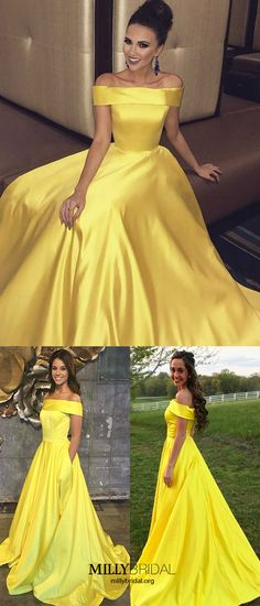 Long Prom Dresses For Teens,Yellow Prom Dresses with Pockets,Modest Prom Dresses Off-the-shoulder,Simple Prom Dresses Satin,Cheap Prom Dresses Princess