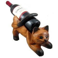 Wooden Kitty Cat Wine Bottle holder