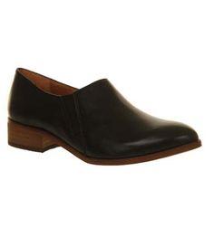 Office Vex Elastic Slip On Black Leather - Flats