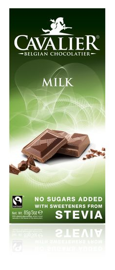 Tablet with sweeteners from Stevia, milk chocolate. Cavalier the pioneer in no sugars added chocolate.