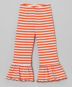Take a look at this Orange Stripe Ruffle Pants - Toddler & Girls on zulily today!