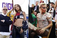 Tommy Hilfiger, Gigi Hadid and Lady Gaga at the TommyLand Tommy Hilfiger Spring 2017 Fashion Show in Venice, California, February 8, 2017. Left, from WWD/Rex/Shutterstock; Right, Robyn Beck/AFP/Getty Images.