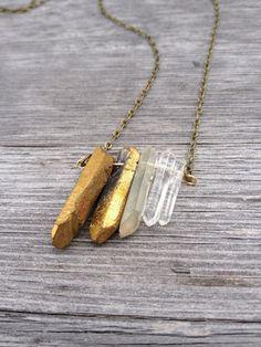 Gold Aura Quartz Long Necklace by StitchPrism on Etsy, $30.00 #handmade #jewelry