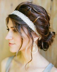 wedding hair with headband | hair ribbon