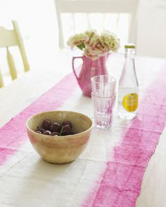 Why not make a bright and festive runner for your Spring/Easter table? Sweet Paul Crafty Friday: Dip Dye Table Runner