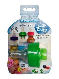 Refresh-a-Baby Multi-Functional Water Bottle and Baby Beverage Bottle Adapter- Green Cool Baby Gadgets, Baby Shower Gifts, Baby Gifts, Massage Bebe, Baby Life Hacks, Baby Necessities, Baby Must Haves, Everything Baby, Baby Time