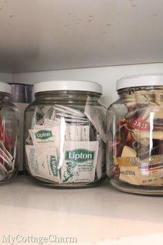 organizing tea bags