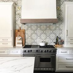 Cheverny Blanc Encaustic Cement Wall and Floor Tile - 8 x 8 in - The Tile Shop Depth comes with more than one color. Cement Tile Backsplash, Blue Backsplash, Kitchen Backsplash, Kitchen Cabinets, Backsplash Ideas, Tile Ideas, Kitchen Wall Colors, Kitchen Tiles Design, Kitchen Window Bar