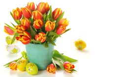 Tulips and eggs for Easter wallpapers and images wallpapers
