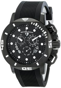 Swiss Legend Men's 10538S-BB-01 Scubador Analog Display Swiss Quartz Black Watch -- Click on the image for additional details.