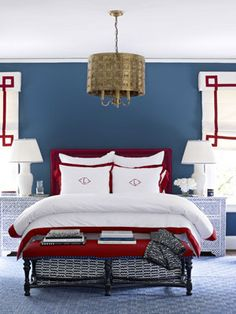 Red, white and blue done perfectly.  No hokeyness here.  Especially loving the Julia B bedding.