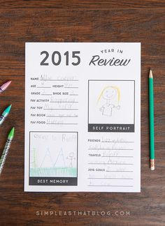 This free printable year in review sheet gives kids a chance to reflect on their favorite memories from the past year and look ahead to new goals and adventures in 2016!