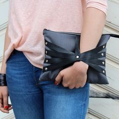 Hey, I found this really awesome Etsy listing at https://www.etsy.com/listing/154473190/leather-web-detail-wristlet-clutch-in