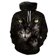 Wolf Hoodie 3D Full Printing //Price: $46.00 & FREE Shipping //     #kakashi #kakashihatake #sai #madara #madarauchiha #hashiramasenju Funny Wolf, Wolf Hoodie, Wolf Eyes, Wolf Mask, Demon Wolf, Hooded Sweatshirts, Hoodies, Wolf Howling, Hoodie