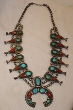 Vintage Old Pawn Silver Turquoise Coral Native American Squash Blossom Necklace