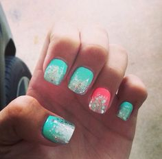 Summer nails sparkly nails, silver nails, fancy nails, coral nails, g Teal Nails, Love Nails, Glitter Nails, How To Do Nails, Fun Nails, Sparkly Nails, Gold Glitter, Sassy Nails, Silver Nails