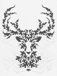 Paper Gray Deer handmade papercut poster by Papercutout on Etsy,