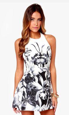 Iris I May Black and Ivory Floral Print Dress