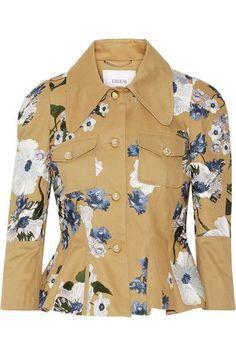 ERDEM Shari embroidered cotton-canvas peplum jacket. #erdem #cloth #jackets