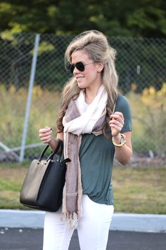 Fall Layers - Love this light scarf and affordable white skinny jeans!