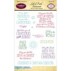 JustRite-Clear Stamps. Clear stamps make it easy to get the image exactly how and where you want it. Simply place the stamp onto any acrylic block (sold separately) then position and stamp! This package contains Gift Of Faith: a set of fifteen clear stamps on one 6x4 inch backing sheet. Made in USA.