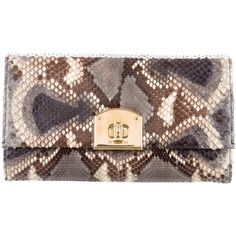 Pre-owned Sergio Rossi Snakeskin Flap Clutch ($175) ❤ liked on Polyvore featuring bags, handbags, clutches, animal print, pre owned handbag, pre owned purses, purse clutches, animal print clutches and flap clutch