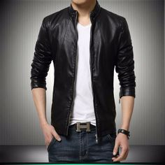 Gordania GD281 BL Stylish Black Slim Fit Formal Faux Leather Jacket #Jacket