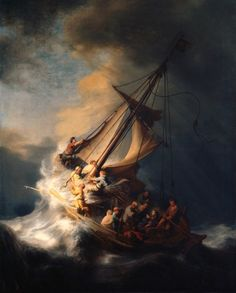 Christ in the Storm on the Sea of Galilee - 1633,  Rembrandt, Dutch, 1606-1669 / On the night of March 18, 1990, a pair of thieves disguised as Boston police officers entered the Isabella Stewart Gardner Museum and roamed the Museum's galleries, stealing thirteen works of art including this one.