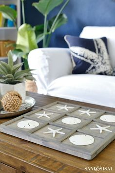 Coastal Tic-Tac-Toe Board beach house decor , coast home ideas