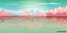 MODERN ARTS 2018  Rocky Mountains reflection alps Summer sunset painting Traveling, Vacation, Voyage, Paradise, Adventure in nature concept banner.