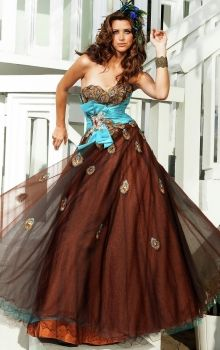 Brown A-Line/Princess Strapless,Sweetheart Empire Long/Floor-length Sleeveless Beading,Bow Taffeta,Tulle Zipper Up Prom Dresses Dress