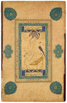 Youth Pulling on a Falconer's Glove Leaf from the Read Persian Album. Herat (Afghanistan), ca. 1600 378 x 241mm Purchased by Pierpont Morgan, 1911.; MS M.386.4. The Morgan Library & Museum