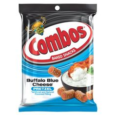 Get ready to meet your new favorite snack. COMBOS Buffalo Blue Cheese Pretzel Baked Snacks have crunchy shells made with crunchy oven baked pretzels with spicy buffalo blue cheese-flavored filling. As good as breaking into the buffalo dip bowl at a party, Combos Snacks, Baked Pretzels, Pretzel Cheese, Movie Night Snacks, Online Candy Store, Road Trip Snacks, No Bake Snacks, Tasty Bites, Blue Cheese