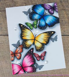 The Pink Envelope: Making An Easy One Layered Card - Featuring Avery Elle and Copic Coloring Oil Pastel Art, Oil Pastel Drawings, Cool Art Drawings, Pencil Art Drawings, Colorful Drawings, Art Sketches, Butterfly Drawing, Butterfly Painting, Butterfly Cards