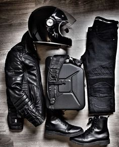 Leather essentials with Boda Skins, shot by Nick Jans. Leather essentials with Boda Skins, shot by Nick Jans. Motorcycle Boots Outfit, Cafe Racer Motorcycle, Motorcycle Style, Motorcycle Accessories, Motorcycle Fashion, Motorcycle Riding Gear, Cafe Racer Helmet, Custom Motorcycle Helmets, Biker Gear