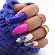Sweater Nails Design Rings Purple Peach Red Floral Stiletto Nails + Blue Sweater – Rebel Without Applause Stiletto Nails, Gel Nails, Nail Polish, Coffin Nails, Acrylic Nails, Short Nail Designs, Gel Nail Designs, Nails Design, Chic Nails