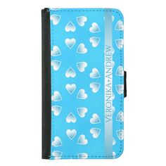 Pretty small blue hearts. Add your own text. Wallet Phone Case For Samsung Galaxy S5 #samsunggalaxys5case #samsunggalaxys5walletcase #customized #personalized #graphics #artwork #buy #sale #giftideas #zazzle #discount #deals #gifts #shopping #valentinesday #love #blue #hearts #name #colorful #cute #case #walletcase