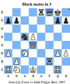 Black mates in 3. Jean-Luc Costa vs Judit Polgar, Biel, 1987 www.chess-and-strategy.com #echecs #chess #jeu #strategie